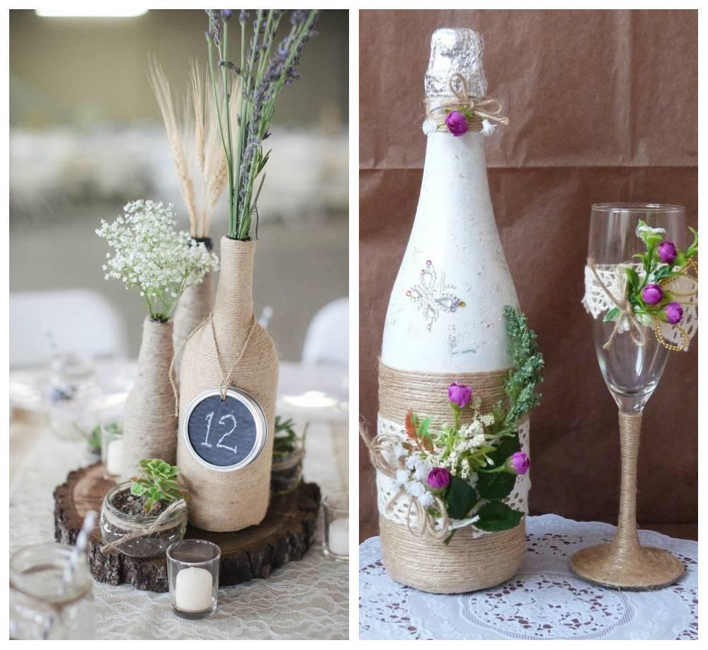 Украшение свадебного шампанского своими руками: выбираем лучший вариант оформления в технике окрашивания