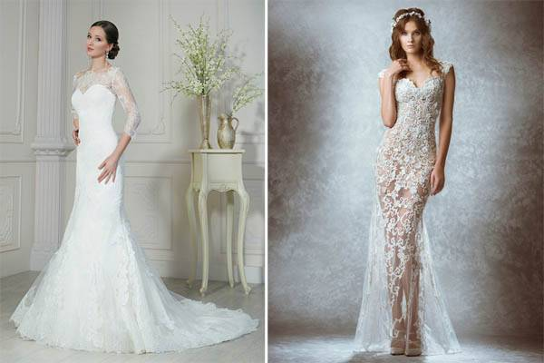 Длинные кружевные свадебные платья: виды, фасоны, с рукавами (65 фото)