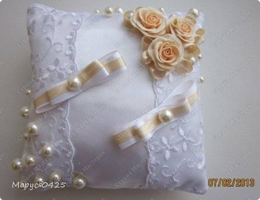 Свадебная подушечка для колец своими руками, варианты дизайна
