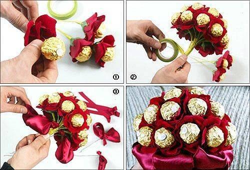 Букеты из конфет своими руками: пошаговое фото для начинающих