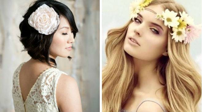 Прически с цветами на длинные, средние, короткие волосы (с фото, видео)   женский журнал читать онлайн: стильные стрижки, новинки в мире моды, советы по уходу
