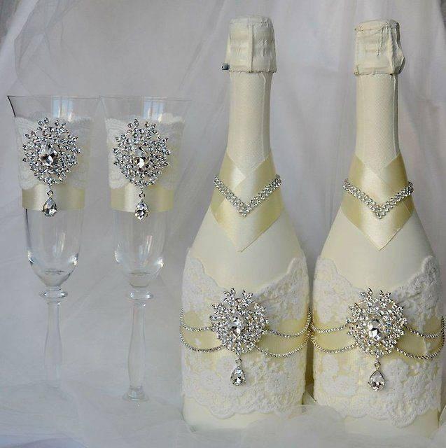 Украшаем свадебные бокалы своими руками: мастер-классы с фото